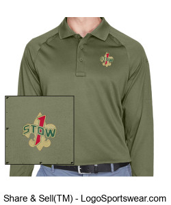 Troop 1 Stow Long Sleeve Polo Design Zoom